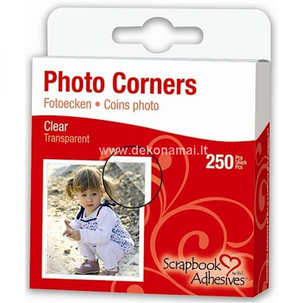 Clear, self-adhesive paper photo corners from 3L