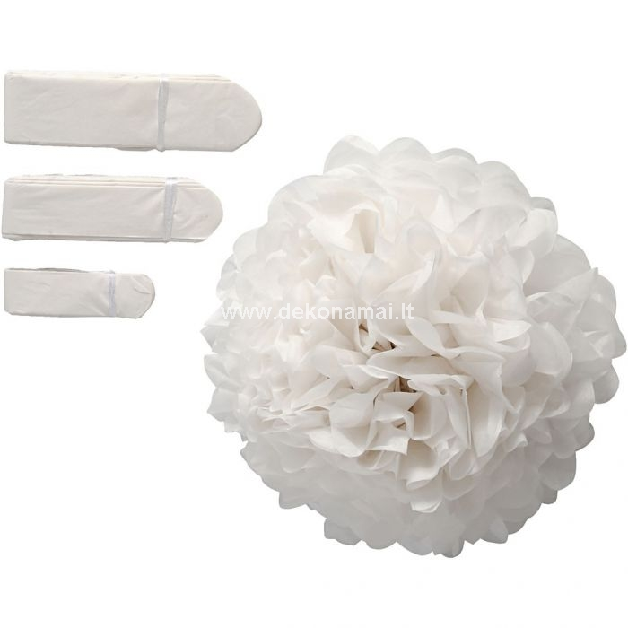 Airy pompoms made of silk paper. They fold out into round balls and are tied with string..<br />Pack includes 3 different sizes. Supplied unassembled .<br />20+24+30 cm, 16 g