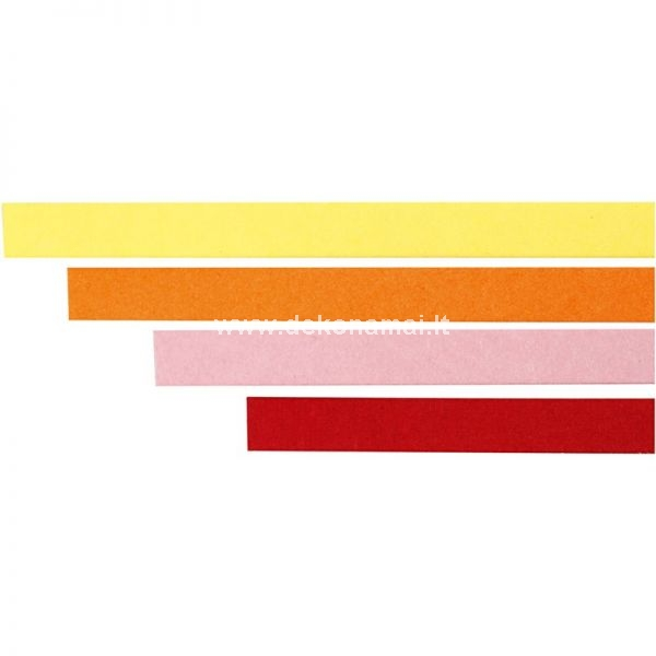 W: 5 mm, L: 78 cm Paper strips suitable for quilling. Can be shaped into fine patterns on cards, suspension etc.  Pk. with 4 Colours each 25 pcs.yellow, orange, pink, red