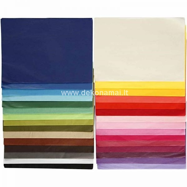 Complete assortment of thin, semi-transparent tissue paper in many bright colors - 10 sheets each of all 30 color