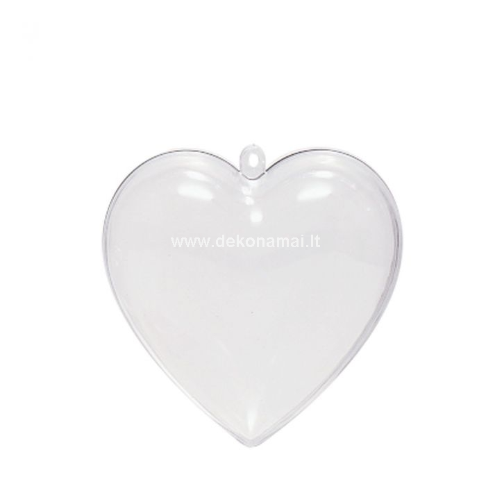 Clear plastic heart, two parts, 8cm