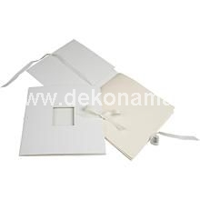 size 20x20 cm, 190 g  Cardboard book with square aperture, ribbon containing 8 sheets of paper - ideal for scrapbooking, decoupage and much more