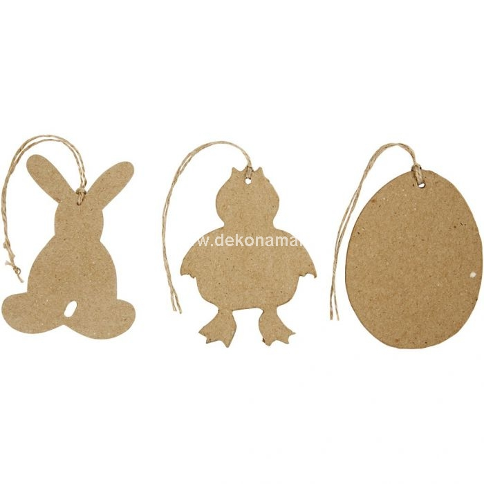 Flat, hand-made paper mache Easter hanging decorations.<br />Pack with 3 designs .<br />H: 10 cm