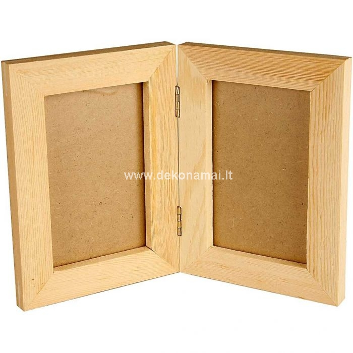 Double wood frame with glass<br />size 2x(14,7x10,5) cm, hole size 10,4x6,5 cm