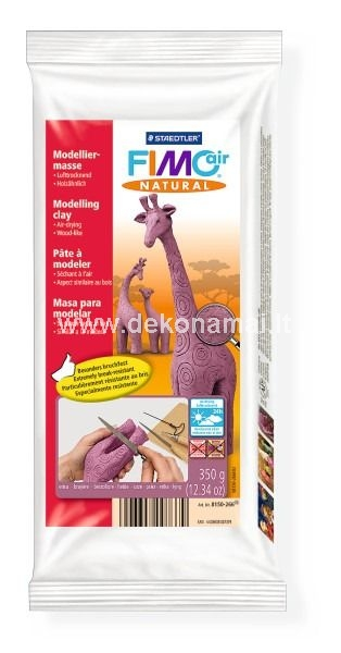 Once dry, FIMOair natural is particularly sturdy and durable. Its wood-like properties make it ideal for the crafting of hand puppets, string puppets and sculptures. Dried models can be filed, sawn, carved, drilled, painted and varnished. It is made from 95% natural substances and, thanks to the cellulose fibres contained, the material has a particularly natural appearance.