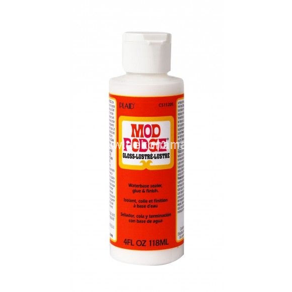 Mod Podge ® is quick-drying for multiple coat build up and dries clear. Can be sanded to a smooth finish. Cleans up easily while wet with soap and water. Certified AP non-toxic; waterbase. Mod Podge ® is an all in one decoupage glue, sealer and finish.