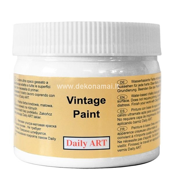 Acrylic ultra matt paint containing chalk specially developed for old furniture repainting, but can be used for a multitude of craft and home decor project. Due to its soft finish this paint is perfect when it comes to aging and distressing. Adheres to slickest surfaces including already varnished surfaces without priming or sanding. For durable finish cover with Daily ART Varnish. <p>    No sanding or priming<br />    Superior coverage in one coat<br />    Ultra matt finish<br />    Light-fast pigments<br />    Soft finish perfect for distressing and polishing<br />    Leaves brush marks<br />    Easily sanded to smooth surface<br />    Water-based, low odor<br />    Soap and water clean-up </p><p> </p>
