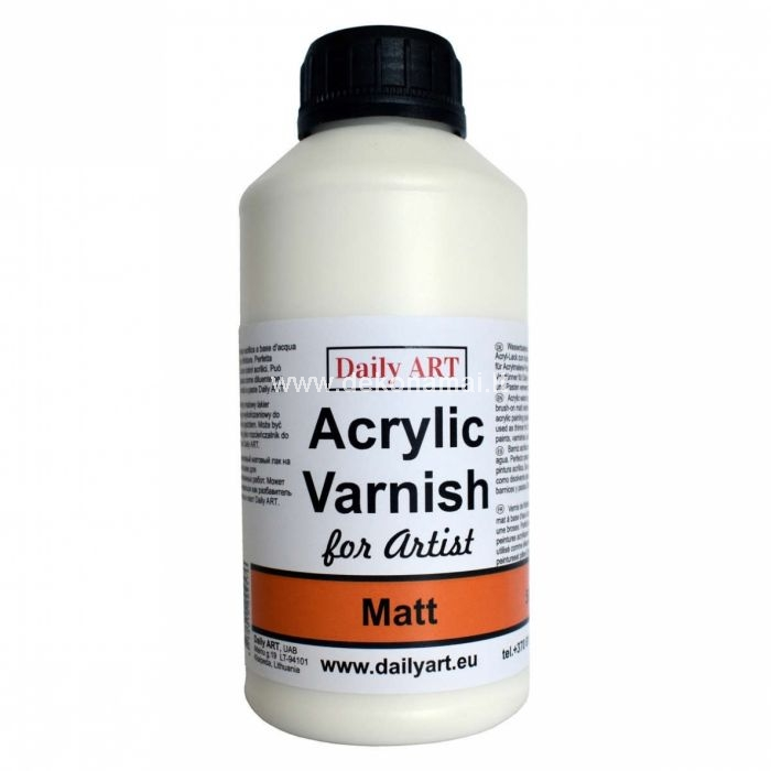 Acrylic water-based finishing brush-on varnish. Apply to any hard, clean, dry surface. The coat protects decorated surfaces from dirt and scratches. Perfect for decoupage, polymer clay, and acrylic painting projects. Might be used as thinner for Daily ART paints, varnishes, and pastes. Easily removable with soap and water while wet; when dries forms a water-resistant coating.
