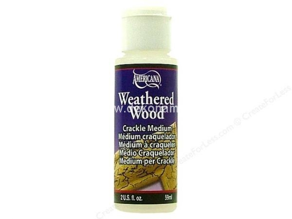 Weathered Wood is a crackling medium which, when used with Americana Acrylics or Crafter's Acrylic, will achieve an aged, cracked, antiqued or distressed wood finish on most hard craft surfaces. Additional Decorating Ideas/Applications: How To Apply: Apply an acrylic paint basecoat color of your chocie. Let Dry. Brush on one even coat of Americana Weathered Wood - do not over stroke. Let Dry. Apply contrasting top coat of acrylic paint over Americana Weathered Wood. Missed areas may be touched up immediately. When using Weathered Wood, the thickness of the top coat will directly affect the size of the crackled finish. The heavier the top coat, the larger the cracks. Apply the top coat by dabbing with a sponge for small cracks that go in all directions. You can antique, shade or paint over the dry, crackled surface before sealing or seal the piece with a light coat of matte spray and then antique, shade or paint on the sealed surface. The final seal should be quite heavy. For dramatic results, use a black top coat over a Dazzling Metallics Glorious Gold (DA71) basecoat. Use Weathered Wood on new furniture and accessories to make them into instant antiques.