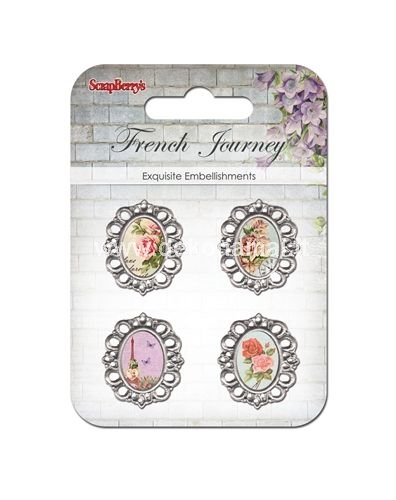 "Set with metal frameworks ""French journey"", Roses"