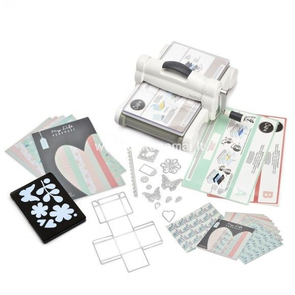 "It's everything you love about the Big Shot - plus the versatility to use 8 1/2"" x 11"" materials! With a sleek white and gray color scheme and the Sizzix logo embossed on the handle, the Big Shot Plus Machine offers plenty of stylish appeal with the same versatility of working with the entire Sizzix product library (with the exception of Bigz Pro dies) - including our smallest to our big 9"" wide plastic-backed dies and embossing tools. If that wasn't big enough, this portable roller machine cuts and embosses many different materials. Create your own one-of-a-kind cards, invitations, scrapbook pages, home décor, fashion, altered art, quilting and much more! (To ensure compatibility, always check machine and accessory requirements. Machine accessories may be sold separately.)<p>Included with the Big Shot Plus are a pair of Standard Cutting Pads and the Big Shot Plus Platform and Adapters A & B, which makes all Sizzix components thinner than a Bigz Die compatible with the Big Shot Plus Machine and even works with other brands' dies and embossing tools! The diagrams on the Platforms and Adapters offer easy guidelines about how to make the perfect Sizzix sandwich.</p><p>This starter kit includes the following designs:<br />    1 Thinlits Plus Die Set (Basic Shapes)<br />    1 Bigz L Die (Everyday Essentials)<br />    A4 & 13.97cm x 15.24cm cardstock from My Life Handmade<br />    44cm x 55cm fabric from My Life Handmade</p><p>Includes 1 Big Shot Plus Machine, 1 Big Shot Plus Platform, 1 Adapter A, 1 Adapter B, 1 Pair of A4 Cutting Pads, 1 Bigz L Die, 1 Framelits Die, 12 Thinlits Dies, A4 cardstock sheets, 5.5"" x 6"" cardstock sheets and 1 fabric piece 100% cotton by My Life Handmade </p>"
