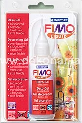FIMO liquid complements the range of FIMO clays perfectly and opens up a whole new world of possibilities for decorative ideas.   The fluid gel is highly impressive thanks to its high level of flexibility after hardening.  The deco gel is an ideal extension to FIMO soft and FIMO classic and comes with detailed instructions for the following uses: For bonding, grouting techniques, image transfer from prints (laser printer), graphite and coloured pencil drawings, glazing effects (can be mixed with pigments, oil paints and glitter).