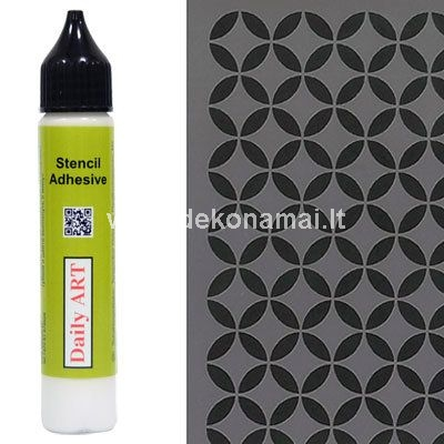 Stencil Adhesive is the temporary glue for plastic stencils. Apply a small amount with a sponge on the backside of a plastic stencil and leave to dry for 5 min.