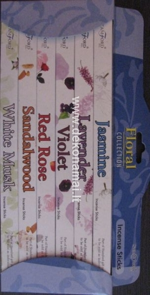 Stamford Incense Gift Pack (Jasmine, Lavender, Violet, Red Rose,Sandalwood)