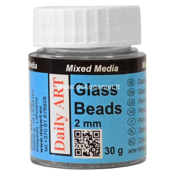 Small glass beads will add shimmer and texture to mixed media, or scrapbooking projects. Mix with any Daily ART Paste or Gel to create a custom paste, or sprinkle over any gel, paste or thick adhesive.<br />Add to Daily ART Mixed Medias Medium Gel and make own Bead paste to use on any surface. This mixture gives unbelievable effects on a glass and transparent surfaces; thought might be used on any surface. After the mixture is dry, you can paint it over with any paints or inks of your choice.<br />Glass beads decor always complements Christmass decorations, as looks similar to small ice crystals.<br />The glass beads are offered in two sizes diameter 1 mm and 2 mm.